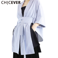 CHICEVER Side Slit Kimono Lace Up Tunic Striped Women Shirts Female 2017 Summer Tops Clothes New