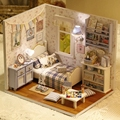 Sunshine Overflowing Bedroom Scene Small DIY Wood Doll house 3D Miniature Dust cover+Lights+Furnitures Home&Store decoration Toy