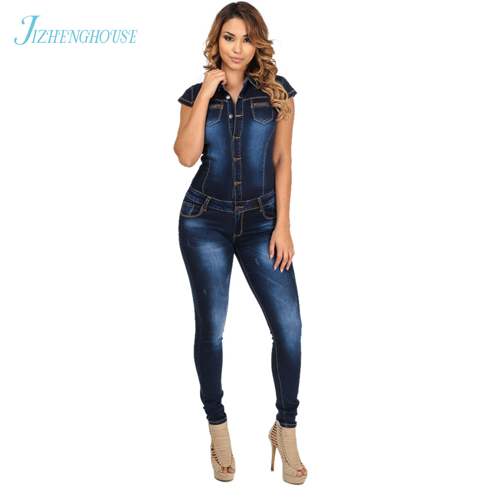 JIZHENGHOUSE Women Catsuit Jumpsuits Jeans Pants Long Pants Ladies Sexy Jeans Long Sexy Short Sleeves Blue Slim Style Romper