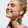 Оптовая продажа JUJIA 2020 модные ювелирные изделия Висячие серьги с листьями для женщин Разноцветные Висячие серьги аксессуары серьги