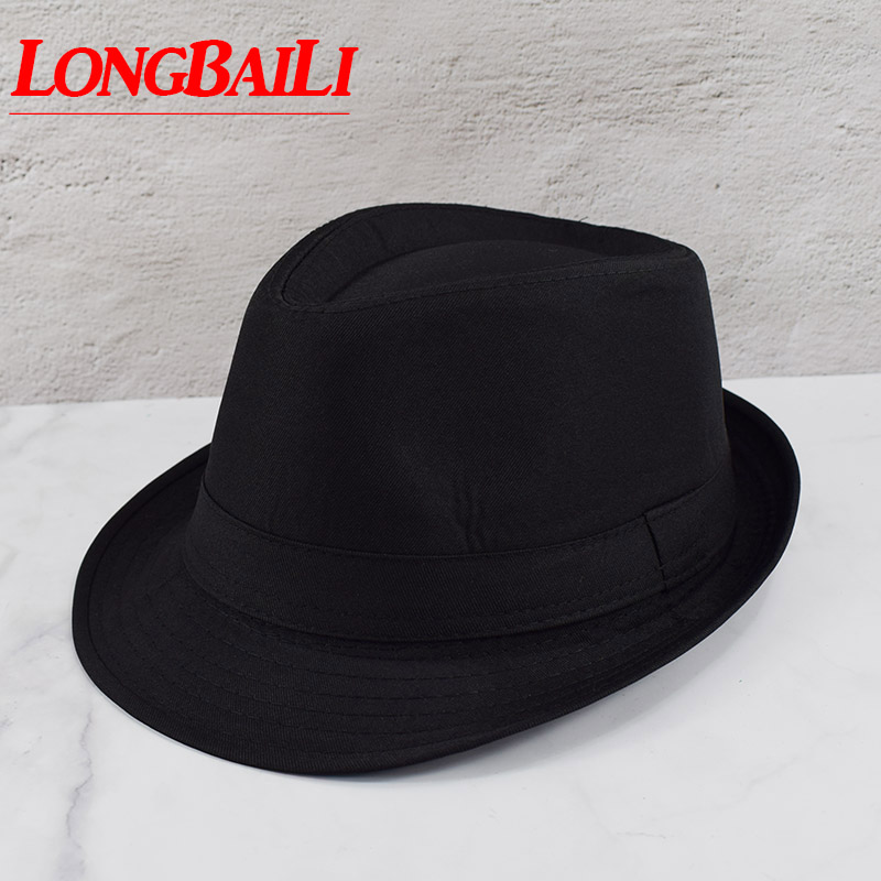 Black Fedora Hats For Men Chapeu Masculino Panama White Trilby Jazz Caps Gangster Hats Free Shipping MEDB003(China)