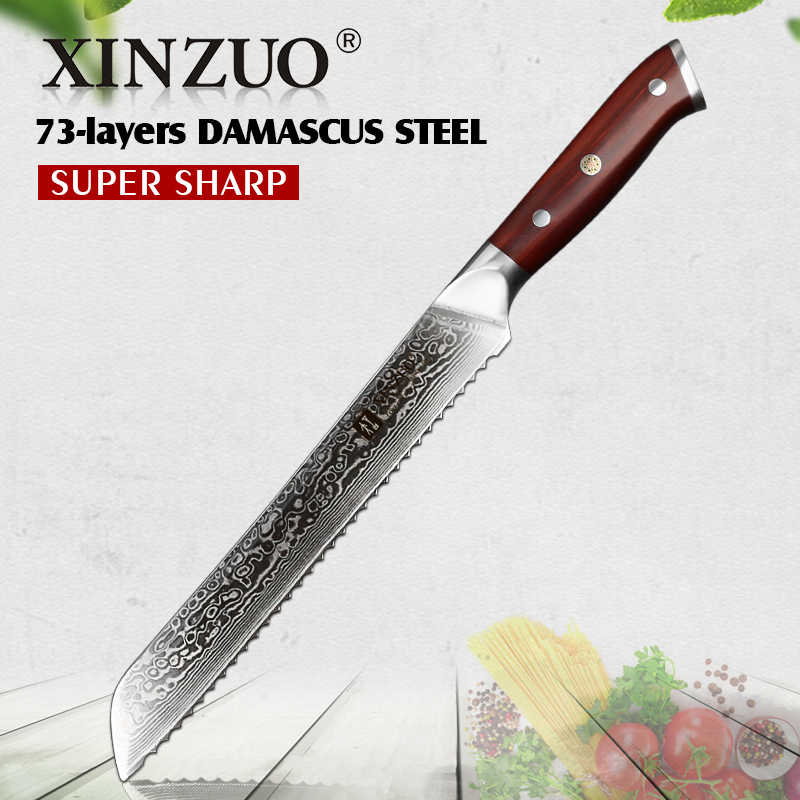 XINZUO 9'' inch Serrated Knife 73 layer Damascus Steel Cutter Cutting Bread Cheese Toast Sharp Table Knife with Rosewood Handle