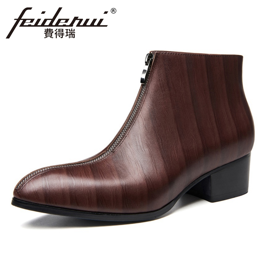 49e2689113919 Luxury Genuine Leather Men's Ankle Boots Pointed Toe High Heels Zip  Handmade Man Cowboy Riding Motorcycle Shoes HQS272