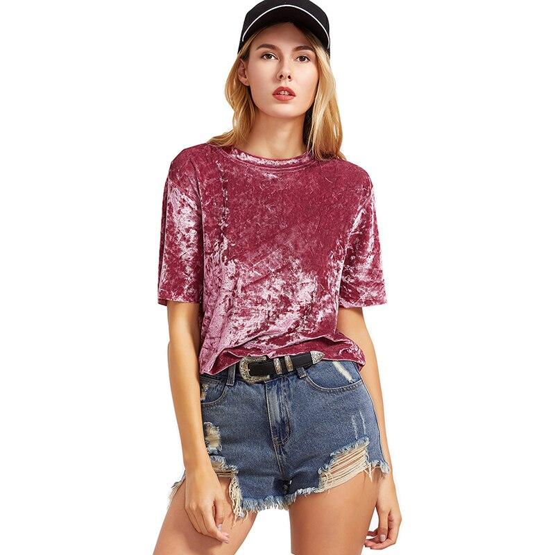 T koszula kobiety AliExpress nowe eksplozje aksamitna koszulka z krótkim rękawem Vestidos nieznajome rzeczy