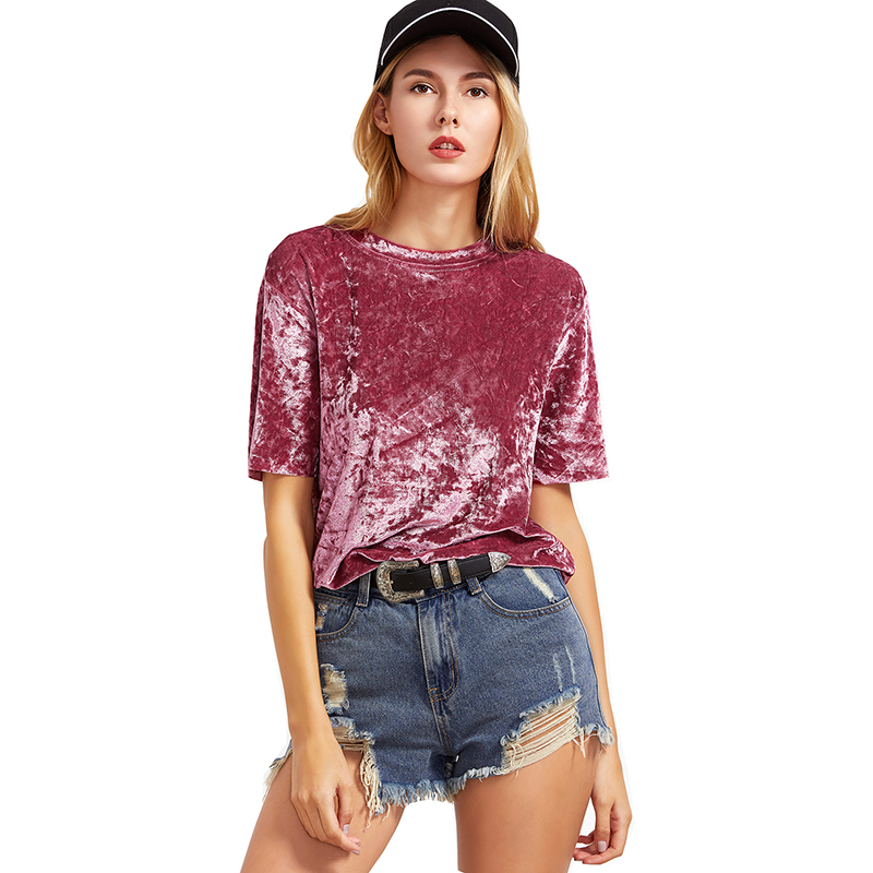 T-shirt Vrouwen AliExpress Nieuwe Explosies Fluwelen Korte mouwen T-shirt Vestidos Stranger Dingen