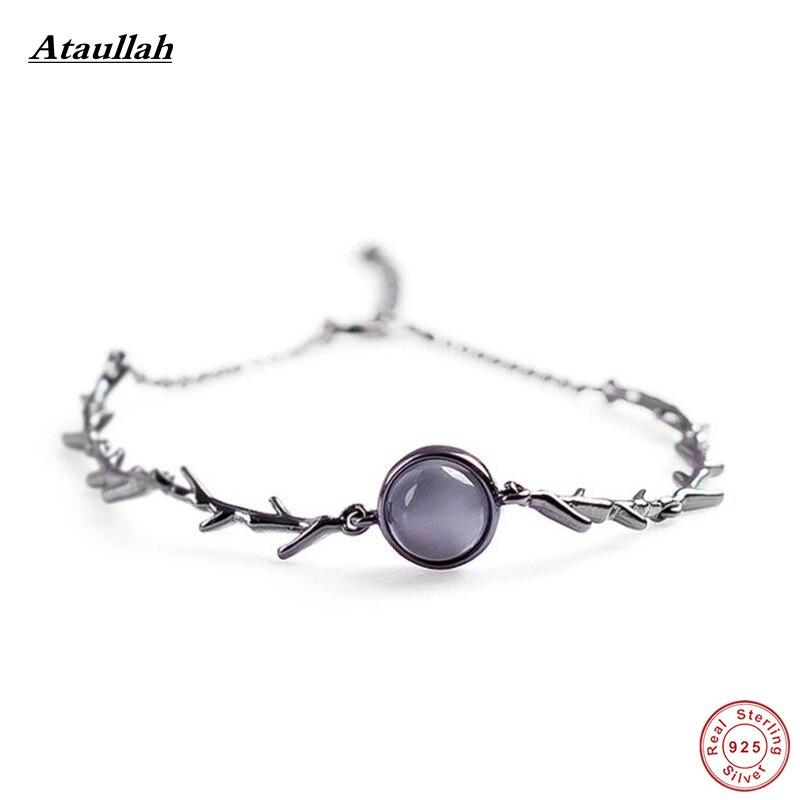 Ataullah Opal 925 Sterling Silver Vintage Bracelets for Women Retro Silver Bangles & Bracelets Fine Jewelry SSB011