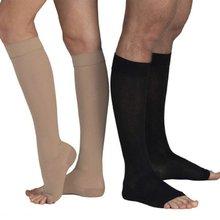 2017 Soft Men Women Stockings Unisex Compression Knee High Open Toe Men Women Support Stockings 18-21mmHg Hot