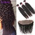 8A Brazilian Deep Wave With Frontal Closure 3 Bundles Deep Wave Brazilian Hair With 13*4 Ear To Ear Lace Frontal Brazilian Deep