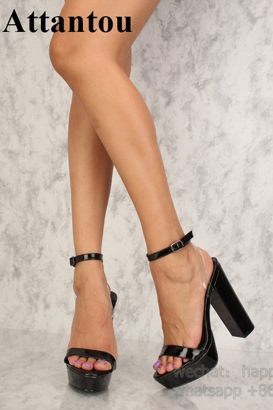 Black Patent Leather With PVC Designer Bold and Trendy heels Thick Platform Block Heeled Back Cut out High Heel Sandals Women - 2