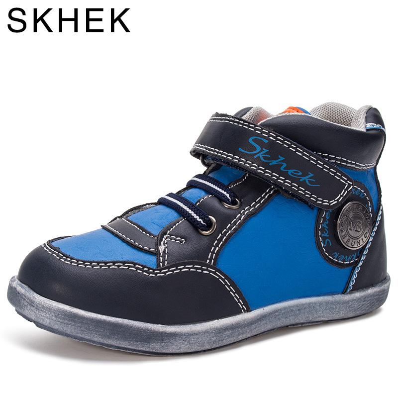 Skhek Kids Shoes For Boots Girl  Boys Fashion Winter Run Sneakers Girls Rain Leather Cotton Warm Children Spring 2017