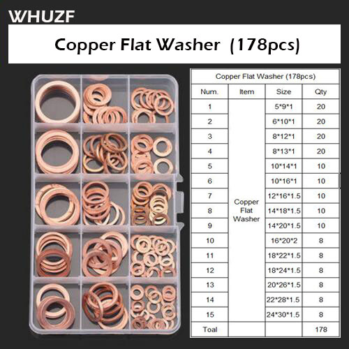 178pcs M5-M24 Professional Assorted Copper Washer Gasket Set Kit Flat Ring Seal Assortment Kit with Box For Hardware Accessories