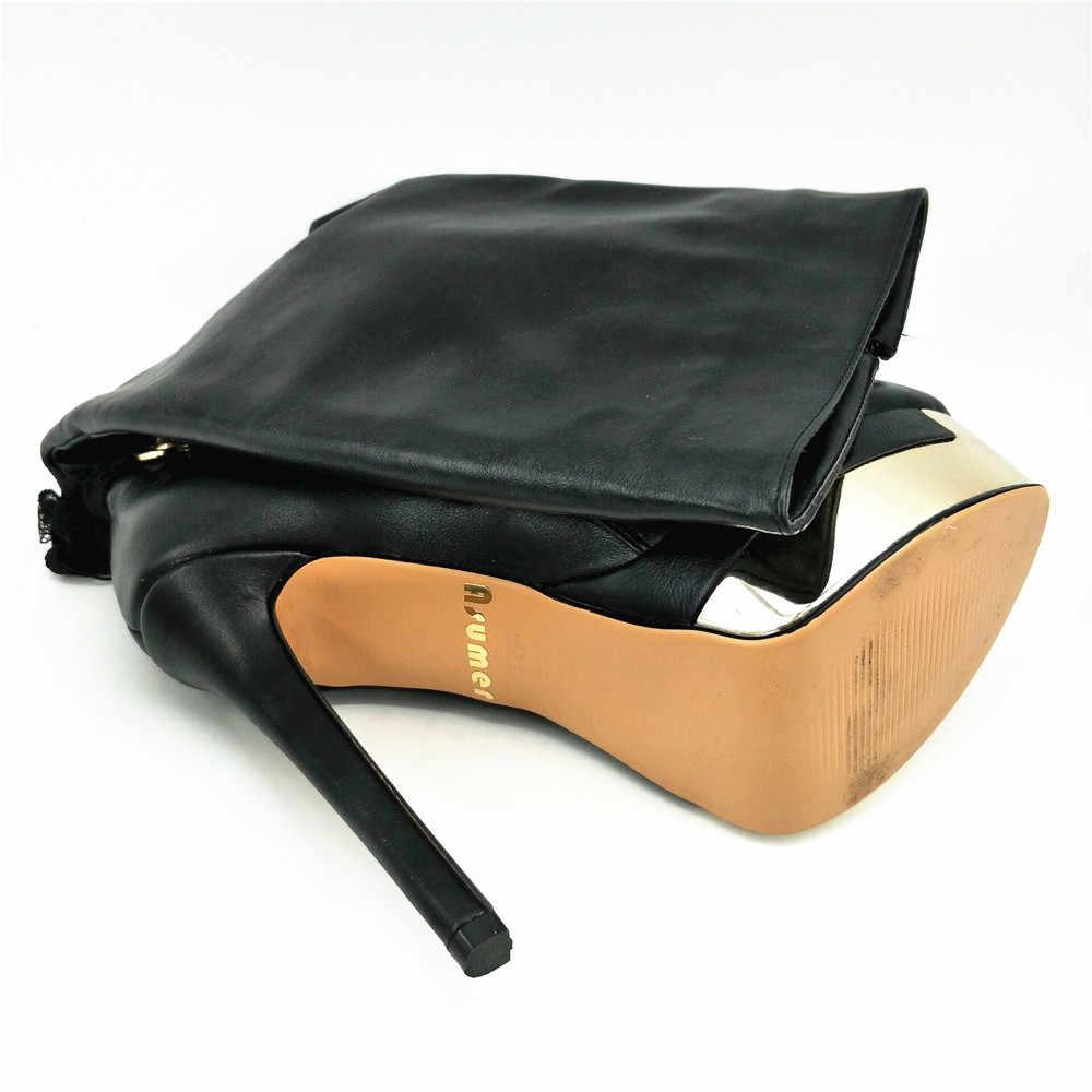 ASUMER kadın çizmeler siyah bayanlar sonbahar kış çizmeler yüksek kalite pu platformu fermuar süper yüksek ince topuklu diz yüksek çizmeler