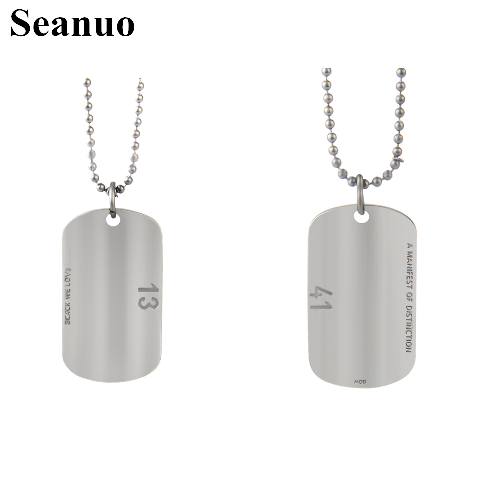 Seanuo Forever love 1314 number beaded chain stainless steel pendant necklace for men women fashion couple lovers' necklace gift