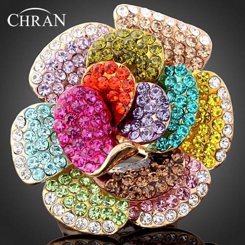 Chran nagykereskedelmi új arany színű strasszos kristály rózsa virág gyűrűk a nők divat ékszerek legjobb rész ajándékok kiegészítők