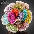 Chran, оптовая продажа, новинка, золотой цвет, горный хрусталь, кристалл, роза, цветок, кольца для женщин, модные ювелирные изделия, лучшая часть, подарки, аксессуары - фото