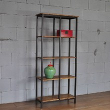 American country LOFT industrial solid wood frame style iron shelf old TV cabinet Shelf Bookcase