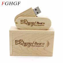 FGHGF (over 10 PCS free LOGO) rotatable Wooden usb+box USB Flash Drive pendrive 8GB 16G 32GB U disk photography wedding gift