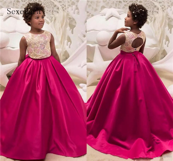 Two Piece Ball Gown Flower Girls Dresses Embroidery Lace Keyhole Back Sweep Train Girls Birthday Dresses Children Party Dresses plus keyhole pleated neck lace panel top