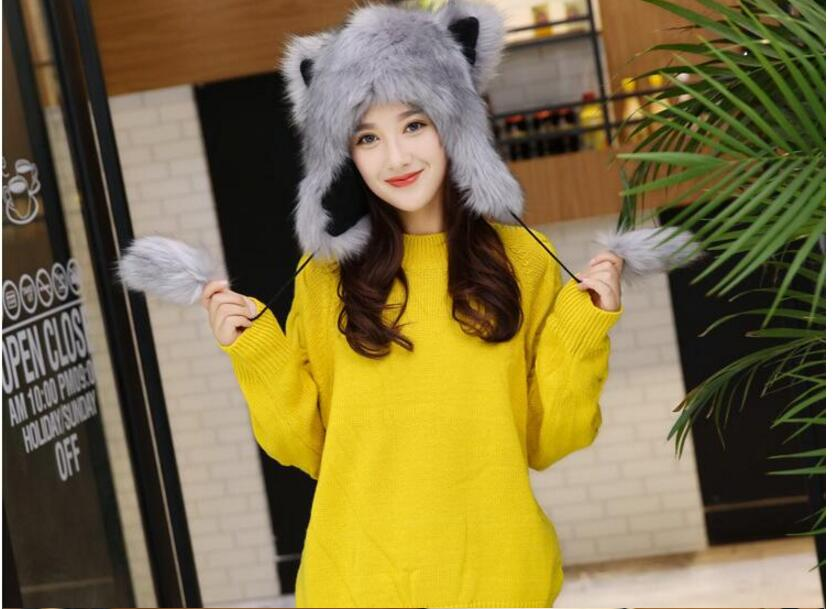 Hot selling Winter new Women Warm Caps Fur ear Hats Girls Cartoon Novelty Caps Beanies Soft Lovely Hats in Men 39 s Skullies amp Beanies from Apparel Accessories