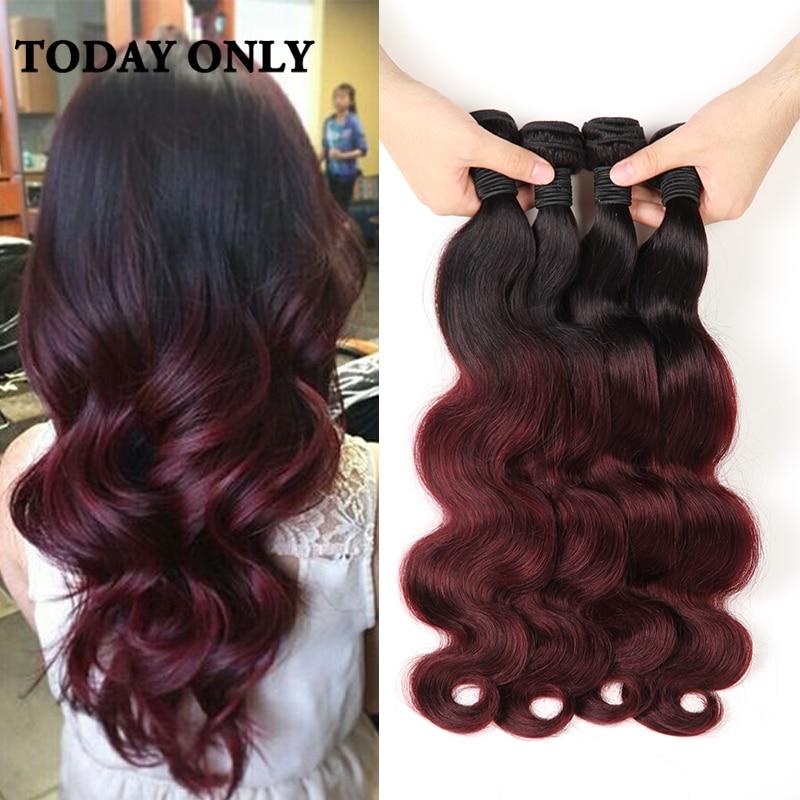 4 bundles burgundy malaysian virgin hair 1b 99j ombre hair