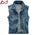 Fashion Male Denim Vest Men Hole Sleeveless Jean Jacket Ripped Plus Size Waistcoat  YL589