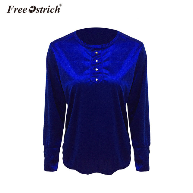 ee28478133a6a US $4.28 37% OFF Free Ostrich Spring T Shirts 2019 Velvet Velvet Tops Long  Sleeve T shirt Autumn Women's Solid Button Slim Tee Shirts A2230-in ...