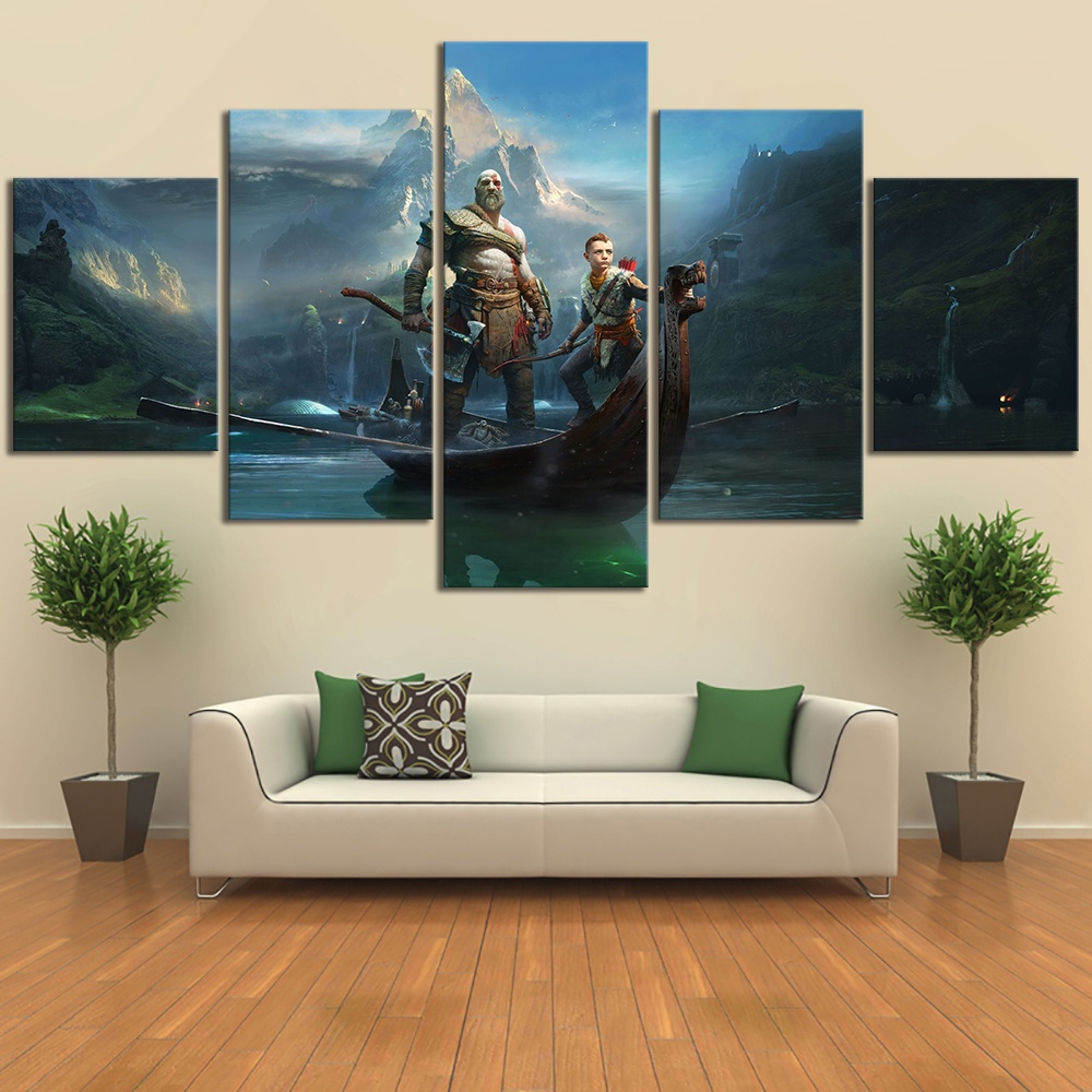Canvas Home Decor Painting HD Print 5 Pcs God Of War Kratos Game Wall Art Modern Poster Cuadros Modular Pictures For Living Room image