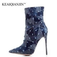 a75207f3a2edc KEAIQIANJIN Mujer Denim Chelsea botas de moda Sexy 12 CM de alto tacón  Zapatos más tamaño 33-43 azul caqui otoño invierno botas .