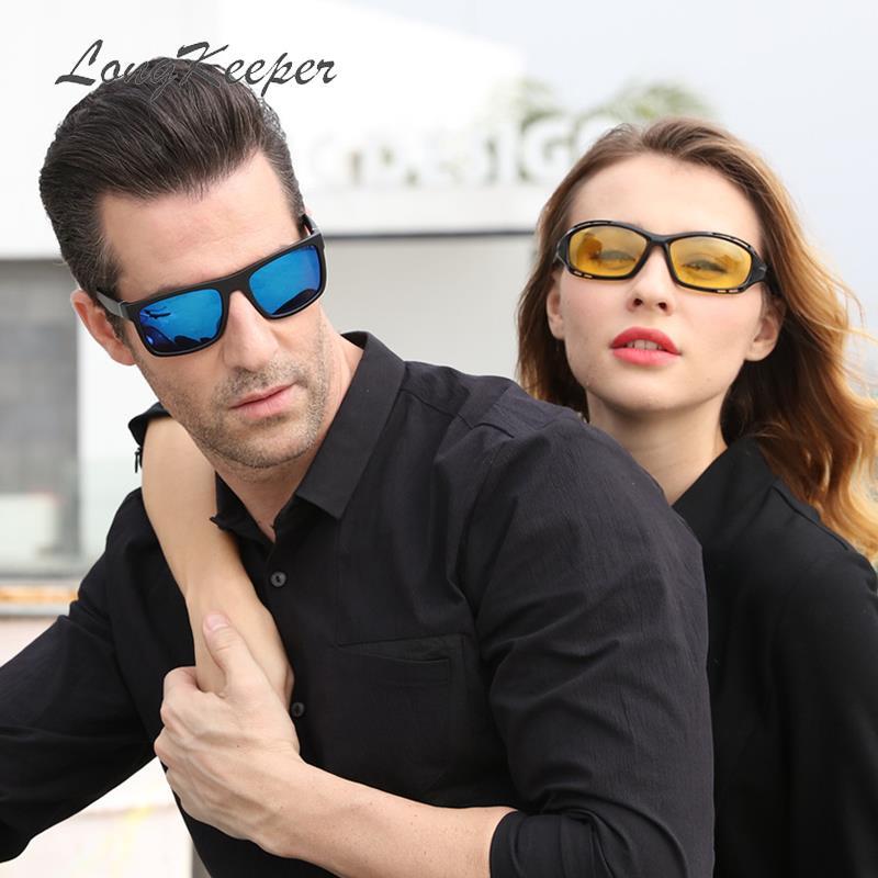 LongKeeper spolaryzowane okulary kobiety kwadratowe owalne lustro jazdy okulary mężczyźni moda Night Vision Gafas De Sol 10041820