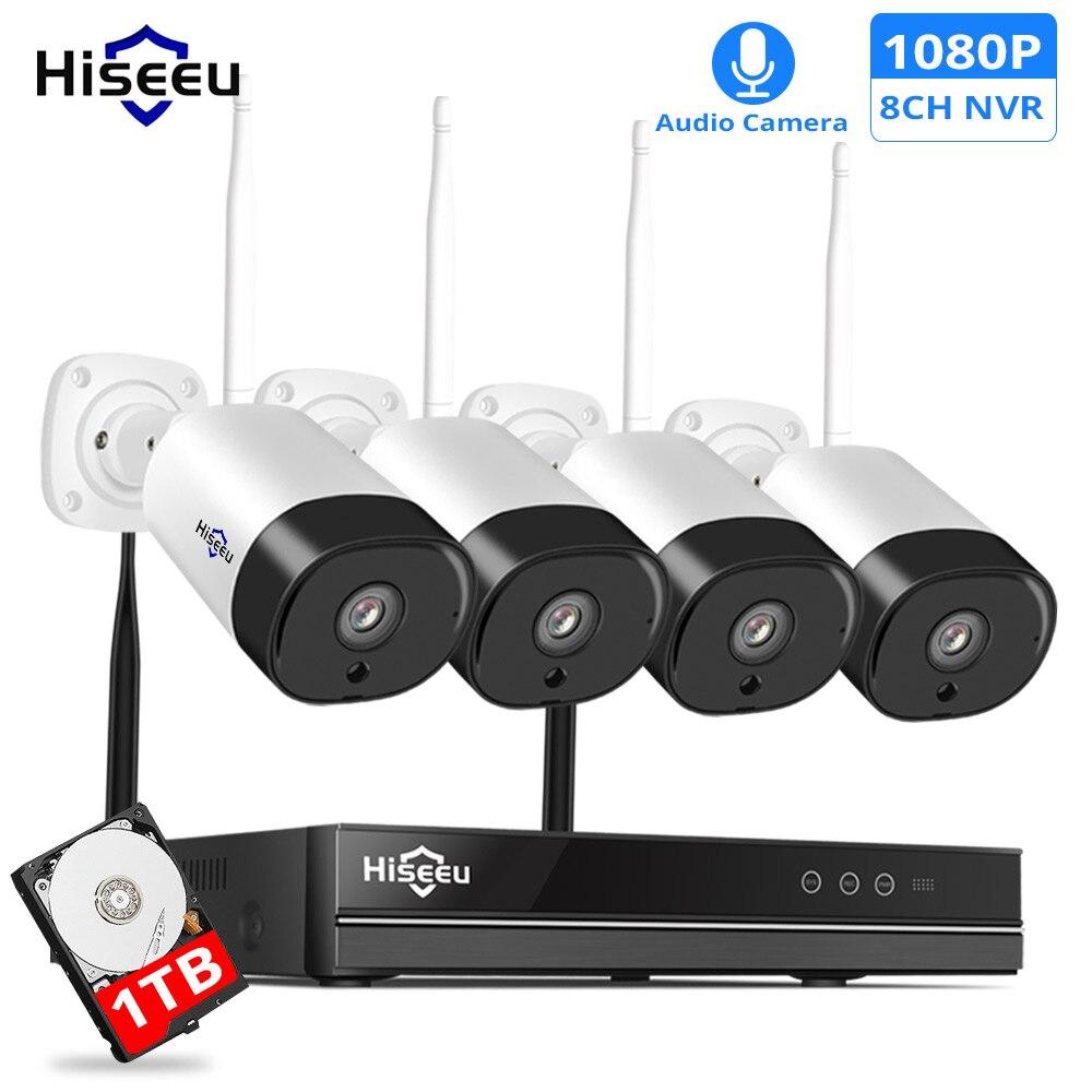 Hiseeu 8CH 1080 P système de sécurité sans fil CCTV 2MP IR enregistrement Audio extérieur caméra IP étanche Wifi NVR Kit Surveillance vidéo