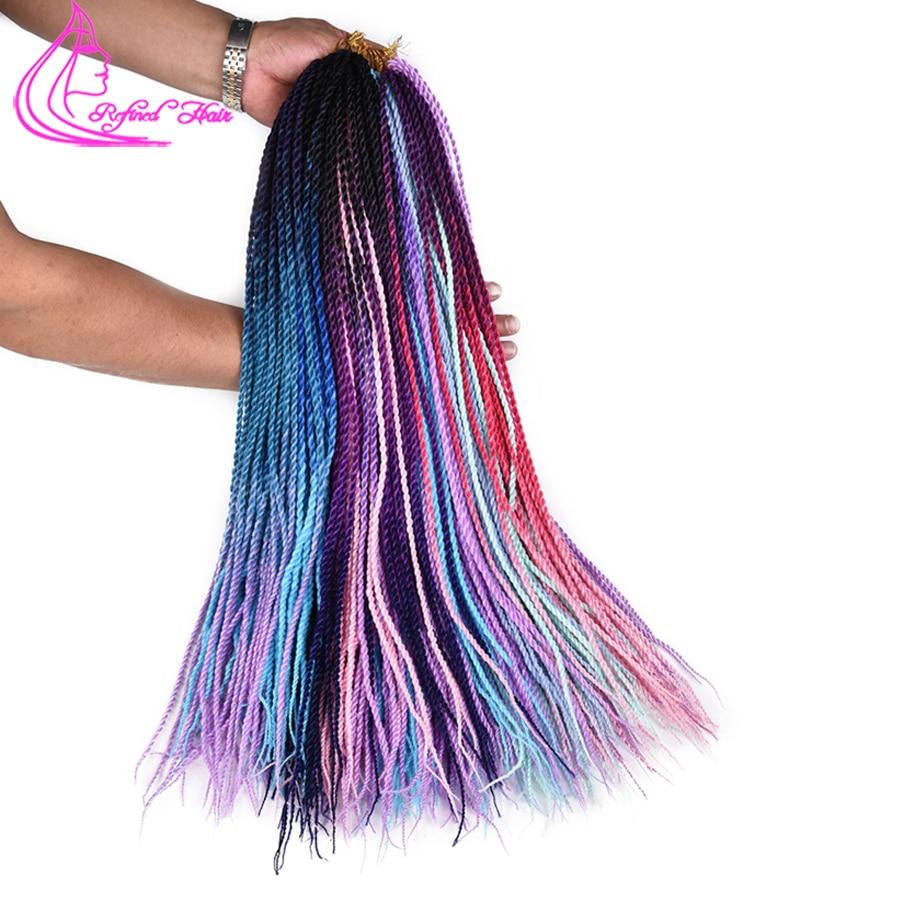 Refined Hair 24Inch Senegalese Twist Crochet Braids Synthetic Colorful African Braid Ombre Brown Kanekalon Braiding Hair Bulk
