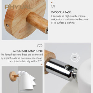 Image 5 - Wall Lamp 10cm Wooden Base 13cm Iron lampshade Nordic Chrome Up and down adjustment steering head E27 lamp holder free shipping