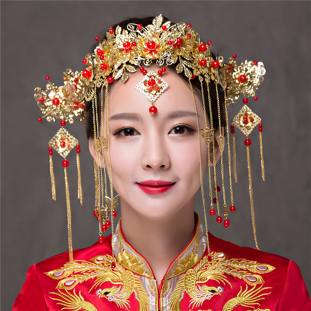 Handmade Chinese Bridal Headdress Vintage Brides Hair ...