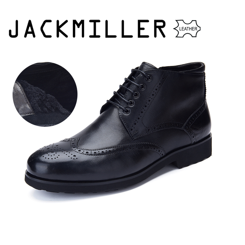 Jackmiller Top Brand Cow Leather Men s Boots Flat Wool Lining Warm Good Quality Lace Up