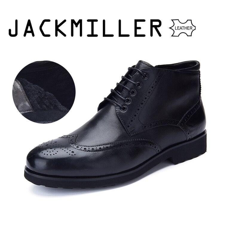Jackmiller Top ยี่ห้อ Cow หนังผู้ชายรองเท้าแบนซับขนสัตว์ Warm คุณภาพดีลูกไม้ซิปสีภายในสีดำและน้ำตาล-ใน รองเท้าบูทแบบเบสิก จาก รองเท้า บน   1
