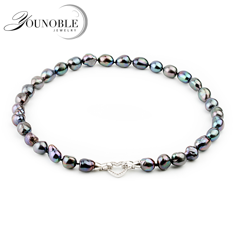 Fashion Big Black Baroque Pearl Necklace For Women,10-11mm Freshwater Birthday Gift