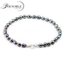 Fashion Big Black Baroque Pearl Necklace For Women,10-11mm Freshwater Pearl Necklace Birthday Gift цена и фото