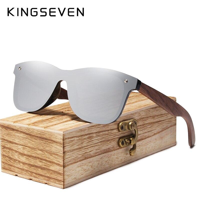 KINGSEVEN 2019 Mens Sunglasses Polarized Walnut Wood Mirror Lens Sun Glasses Women Brand Design Colorful Shades Handmade