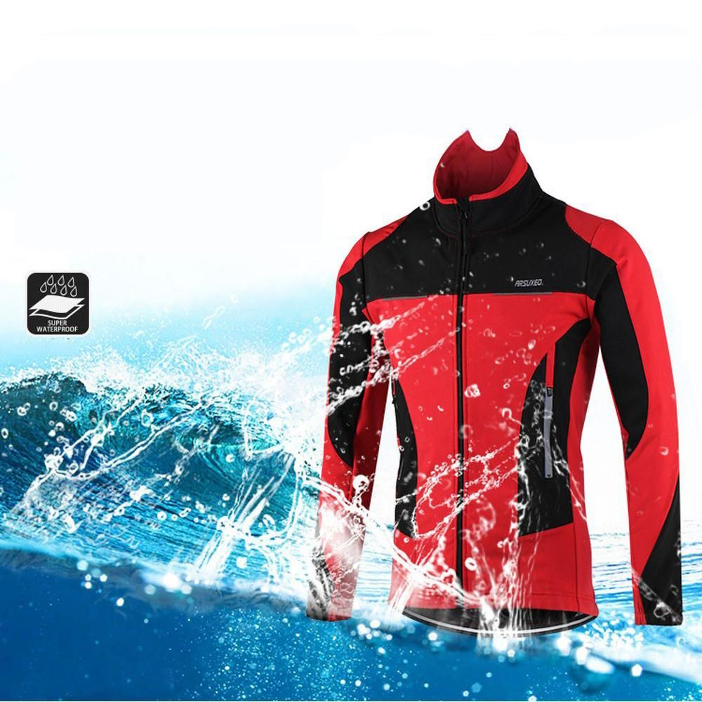 ARSUXEO Bicycle Jackets Thermal Warm Spring Winter Men Cycling Outerwear Windproof Waterproof Reflective Bike Riding Coat santic men s cycling hooded jerseys rainproof waterproof bicycle bike rain coat raincoat with removable hat for outdoor riding