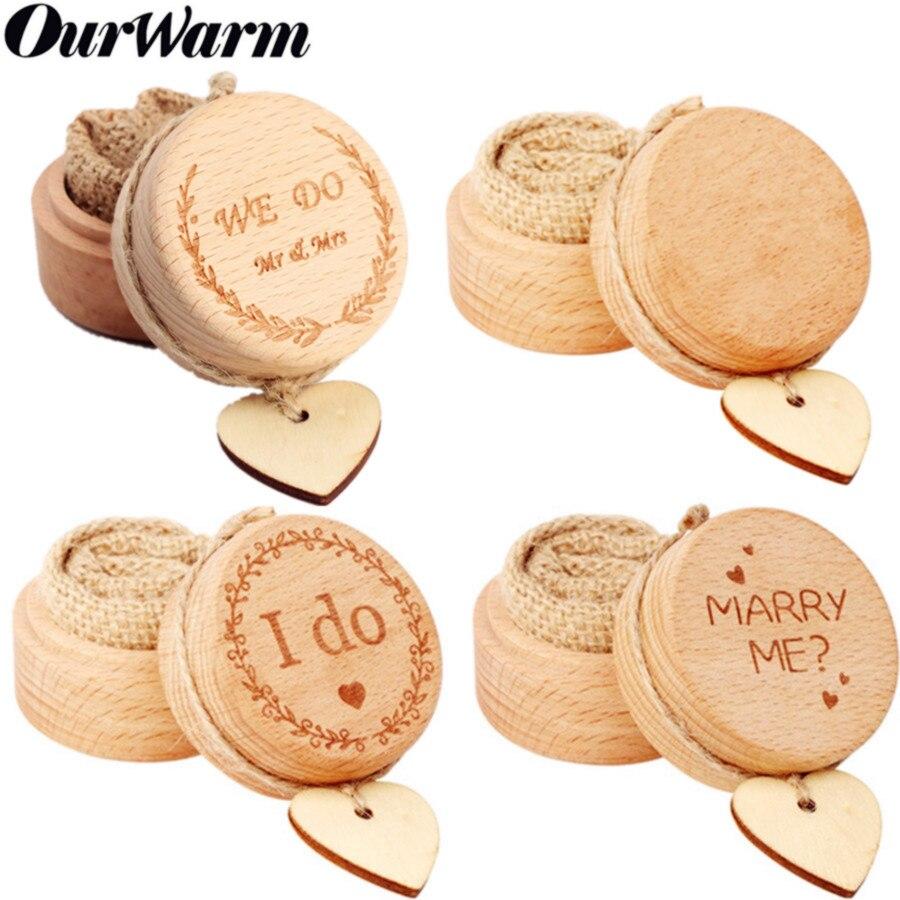 OurWarm boîte de mariage en bois boîte porte-bague boîte à bijoux lettre rustique Boho mariage saint valentin décoration de fête de fiançailles