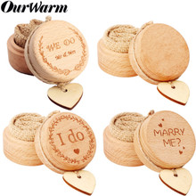 OurWarm Wedding Wood Boite Ring Bearer Box Letter Jewellery Rustic Boho Valentines Engagement Party Decoration