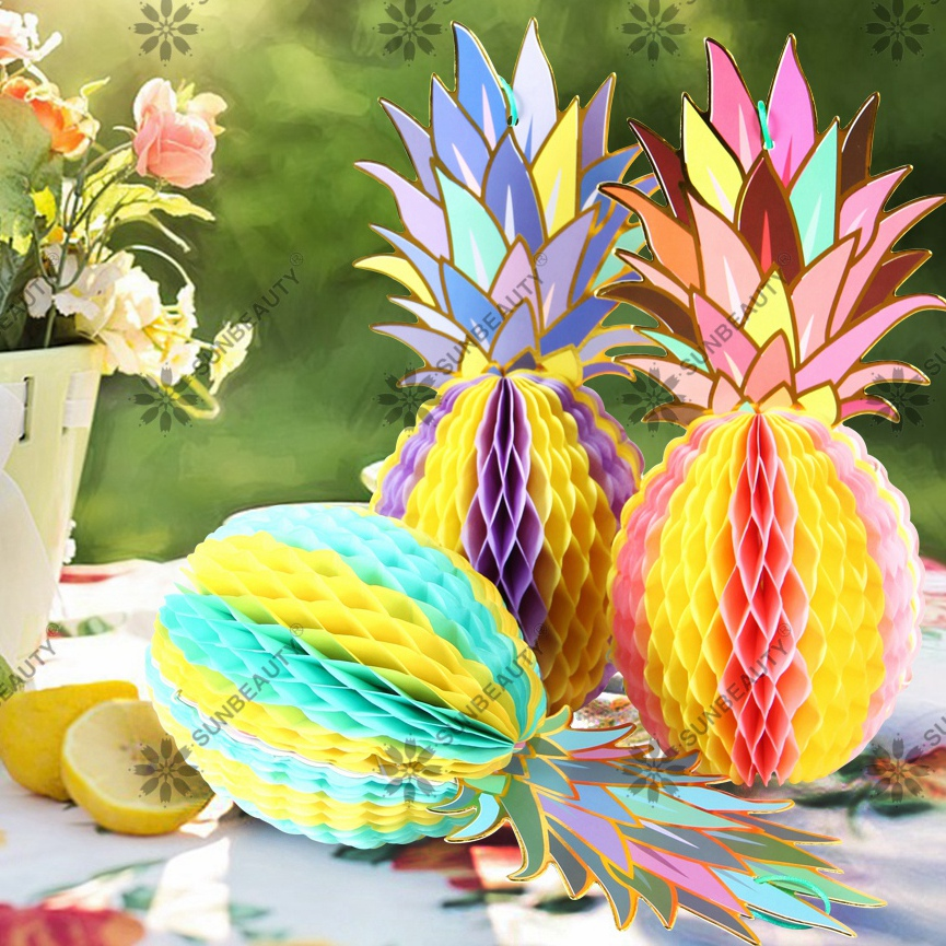 Multi-color Paper Pineapple Shape Honeycomb Decor Summer Party Table Centerpiece Beach Pool Luau Tropical Jungle Party(3pcs)
