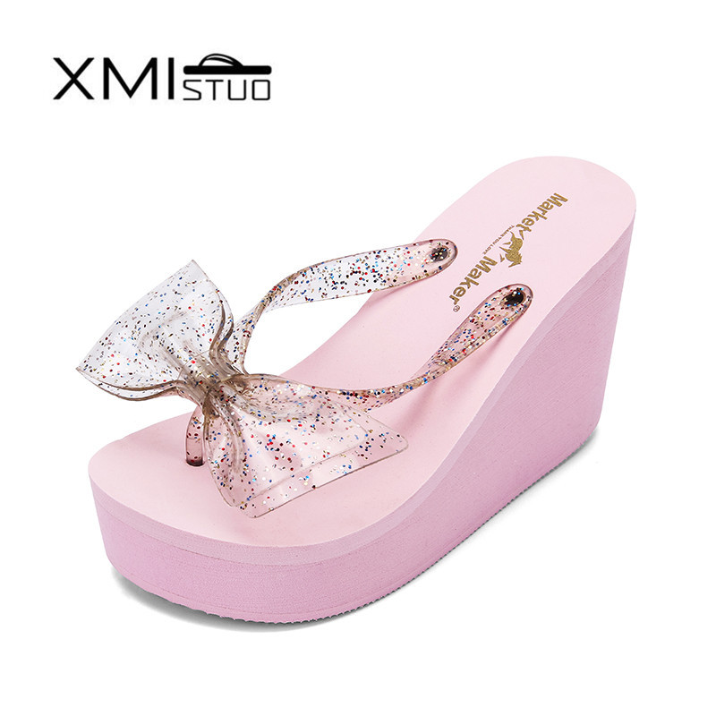 XMISTUO Fashion Women Flip Flops with Bow Female Summer Beach Wedges Water-resistant 10cm High-heeled Slippers Women's shoes