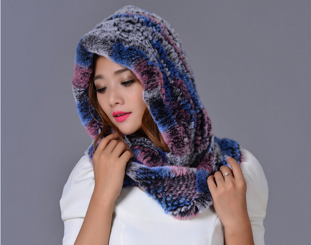 More new otter rabbit hair collar cap Fur hat Ms. One woman in winter to keep warm fur hat scarf