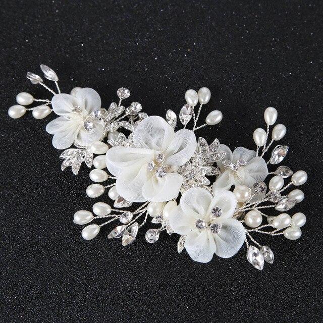 2017 Свадебные Оголовье Тиара Свадебные заставки цветок украшения для волос невесты аксессуар для волос лентой головной убор украшения