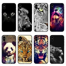 Fashion animal cover lion tiger cat owl oft black silicone TPU Phone Cases For iPhone 5 5S SE 6 6S Plus 7 8 XS XR MAX