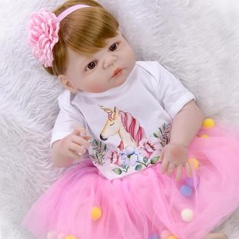 57CM  bebe doll reborn toddler girl baby doll  white skin full body silicone Bath toy lol dolls Xmas Gfit