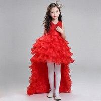Retail Princess V Neck Flower Girl Dresses For Weddings Kid Girl Pageant Dress With Long Train