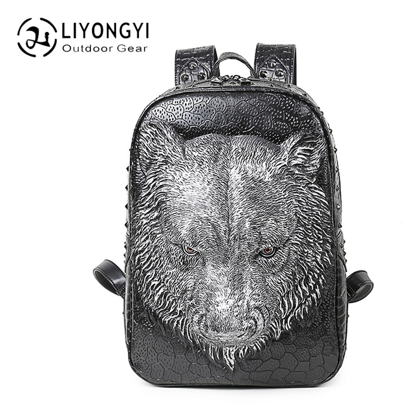 Personality 3D Tiger Head PU Leather Backpack Women Backpack Female Laptop bag School Bags For Teenagers Girls Casual Travel Bag male bag vintage cow leather school bags for teenagers travel laptop bag casual shoulder bags men backpacksreal leather backpack