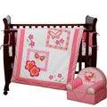 4 unids bordado rosa cuna sistemas del lecho niños cuna juego de cama, incluyen ( parachoques + funda de edredón + hoja + almohada )